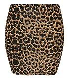 Purple Hanger - Damen Mini Rock Azteken Tier Streifen Comic Hahnentritt Muster Stretch Rock Elastisches Bündchen Eng Anliegend - 36/38, Schwarz & Braun Leopard