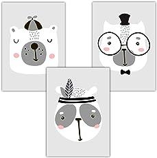 Frechdax 3er Set Kinderzimmer Poster Babyzimmer DIN A4 ohne Bilderrahmen   Mädchen Junge   Kinderposter Kunstdruck im skandinavischen Stil   schwarz/weiss oder bunt  
