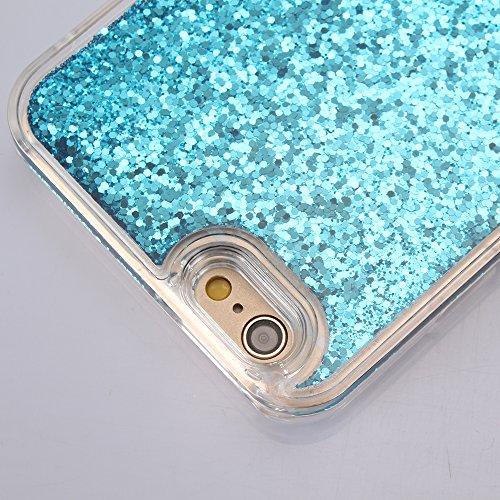 Custodia per iPhone 6/6S 4.7 case cover,Herzzer Mode Crystal per iPhone 6/6S 4.7 Creativo Moving Sands liquido trasparente caso,lusso di Bling brillantini stelle glitter paillettes Cristallo Rose Re Blu