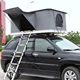 XPHW Biltaktält, campingtält, 2-3 vuxen vattentätt biltaktält ABS skal markis campingutrustning med hopfällbar stege och LED-