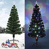 Homgrace Albero di Natale Artificiale con LED Luci Colorate, Albero in PVC Fibre Ottiche con 180 Rami, Altezza 180cm