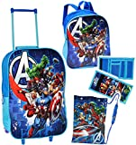4 tlg. Reise Set: - ' Avengers Assemble ' - Trolley + Rucksack + Geldbörse + Turnbeutel _ wasserabweisend & beschichtet - für Jungen - Trolly mit Rollen - Kindertrolley Kindertrolly - Reiseset / Kinderkoffer - Koffer - Kindergepäck - Reisetrolley / Gepäck - Handgepäck - Reisekoffer - Reisetrolly - Initiative / Captain America - Iron Man - Thor / First - Aktion Held - Comic Figuren Hawkeye / Reiseset