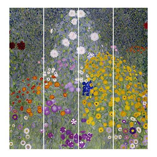 Bilderwelten Tende scorrevoli set - Gustav Klimt - Farmhouse Garden - 4 Pannelli, tenda a pannello scorrevole tenda a pannello incl. sistema di supporto, Tipo di montaggio: Supporto a parete, Misura (AxL): 250 x 240cm (4 pannelli da 250 x 60cm)