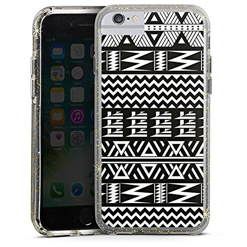 Apple iPhone 8 Bumper Hülle Bumper Case Glitzer Hülle Tribal Pattern Muster Bumper Case Glitzer gold