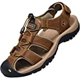 Sports Outdoor Sandals Summer Men's Beach Shoes Closed-Toe Shoes Leather Casual Trekking Walking Hiking Touch Close Strap san
