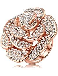 Soxid(TM) de la venta caliente puro de 18 quilates de oro rosa plateado y cristales austriacos Pave forma de la flor de lujo anillos de compromiso de joyas de moda Ri-HQ0049