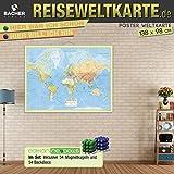 Weltkarte Reiseweltkarte, deutschsprachig, 1:31 Mio.,folienbeschichtet, inkl. Metallbeleistung und Magnetkugeln Neoballs - BACHER Verlag GmbH
