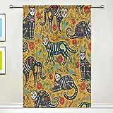 BIGJOKE Vorhang für Fenster, Halloween, Totenkopf, Katze, Tribal-Vorhänge, für Küche, Wohnzimmer, Dekoration, Schlafzimmer, Büro, Voile, 1 Stück, Multi, 55x84 inches