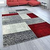 Designer Wohnzimmer Teppich Modern Kurzflor Karo Design Rot Grau Weiß, Grösse:120x170 cm
