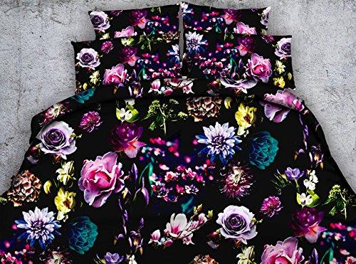 LifeisPerfect Alle Arten der Blumen Rote Rose Pfingstrose Sonnenblume Lily Lotus 3D-Gedruckten Bettwäsche Set 3 Stück digitalen HD-Bettdecke Bettdecken Bettwäsche (Lily-bettwäsche-set)