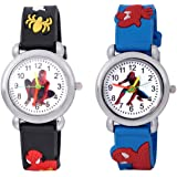 Shocknshop Analogue Girl's & Boy's Watch (Pack of 2) ( White Dial Multicolored Strap )