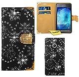 Samsung Galaxy Xcover 3 Handy Tasche, FoneExpert® Bling Luxus Diamant Hülle Wallet Case Cover Hüllen Etui Ledertasche Premium Lederhülle Schutzhülle für Samsung Galaxy Xcover 3 (Schwarz)