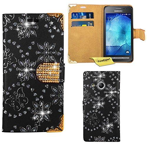 Preisvergleich Produktbild Samsung Galaxy Xcover 3 Handy Tasche, FoneExpert® Bling Luxus Diamant Hülle Wallet Case Cover Hüllen Etui Ledertasche Premium Lederhülle Schutzhülle für Samsung Galaxy Xcover 3 (Schwarz)
