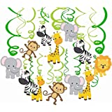 Comius 30 Piezas Salvaje Selva Animal Colgar Decoraciones, Remolino Adornos de espirales para Niños Cumpleaños Fiesta