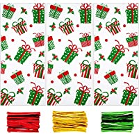 Boao 100 Pieces Christmas Cellophane Bags Christmas Treat Bags Goodies Bags with 150 Pieces Twist Ties for Christmas Party Supplies (Style 16)