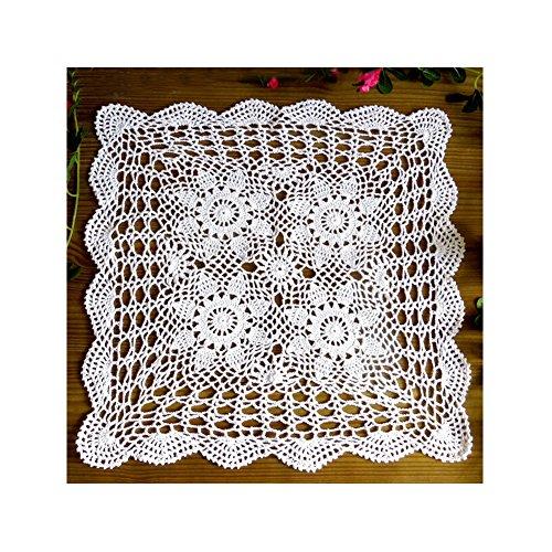Aspire 50,8cm-121,9cm beige handgefertigt Häkel Baumwolle Spitze Tisch Platzdeckchen Sofa zierdecken quadratisch, baumwolle, weiß, 61 cm (Tischsets Zum Verkauf)