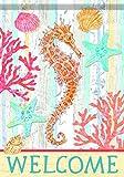 Carson Home Accents Trends Glitter Garten Flagge, Willkommen Seepferdchen