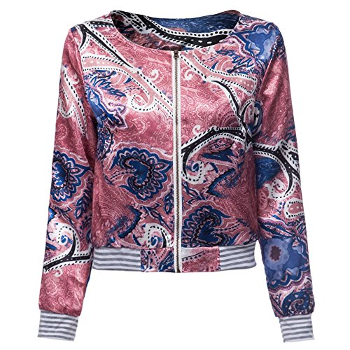 Hannea Ethnic Scoop Neck Long Sleeve Print Loose-Fitting Jacket for Women