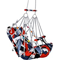Vazzlox Multicolor Cotton Swing for Kids, Chair Jhula for 1-3 Years Old Babies with Safety Belt, Washable and Folding…