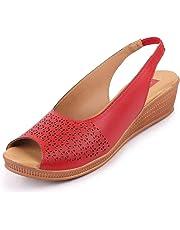 BATA Women's Peep Toe Wedge Heel Sandals