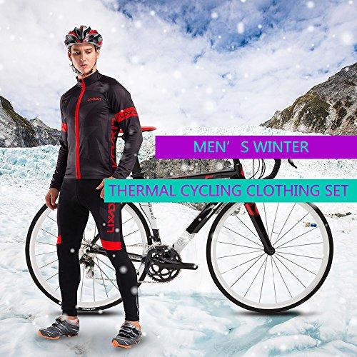 Lixada Chaqueta de Ciclismode Manga Larga+Pantalones de Acolchado 3D para Hombres de Invierno Conjunto de Ropa de Ciclismo de Lana Térmica