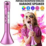 Microphone Karaoke, Wireless Handheld Kids Karaoke Microphone With Bluetooth Speaker With LED Lights Compatible For IPhone (Rose Gold)