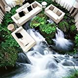 Lmopop 3D Wasserfall Stein Bodenfliesen Wandbild Fototapete Wohnzimmer Badezimmer Wasserdicht Anti Tragen PVC Selbstklebende Bodenbelag400X280Cm
