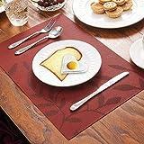 CHAOCHI Tischsets 6er Set Rutschfest Abwaschbar Platzsets Rot PVC Hitzebeständig Platzdeckchen Vinyl Tischmatten Schmutzabweisend Platzmatten für Zuhause Restaurant Küche Speisetisch,30 x 45cm - 8