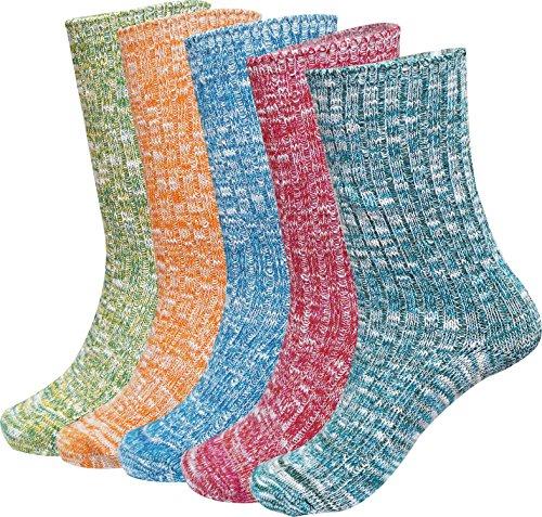 Bienvenu Damen Socken Gr. One size, 5 Pack Crew Socks (Niedliche Halloween Paare Ideen)