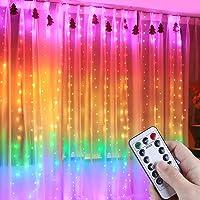 Anpro LED USB Lichtervorhang 3m X 2,8m, 280 LEDs bunter USB Lichterkettenvorhang mit Fernbedienung, IP44, 8 Lichtmodelle…