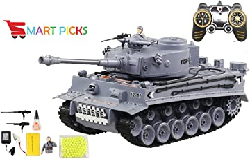 Smart Picks Remote Control Shooting Game Military Battle Tank with Smoke & Shaking Function Variety of War Mode_ Scale 1:18 ( Rechargeable Battery for Tank & Charger Included) (GER Tiger)