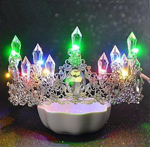 Bridal Tiara, neue Hochzeit, atmosphärische Tiara, Hochzeit, Crown Crystal Princess Crown, Weiß farbige Lichter (bitte beachten Sie die Ohrringe)