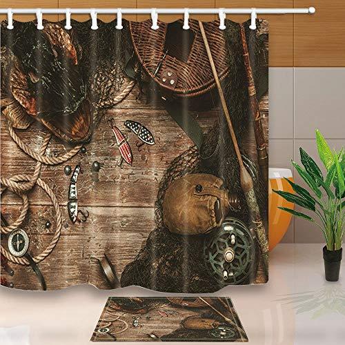 AdaCrazy Fischerei-Tools und Pikes Kopf auf Einem Holztisch 71X71in Mildew beständiger Duschvorhanganzug aus Polyestergewebe mit 15.7x23.6in Flanell Rutschfeste Boden-Fußmatte-Badteppiche -