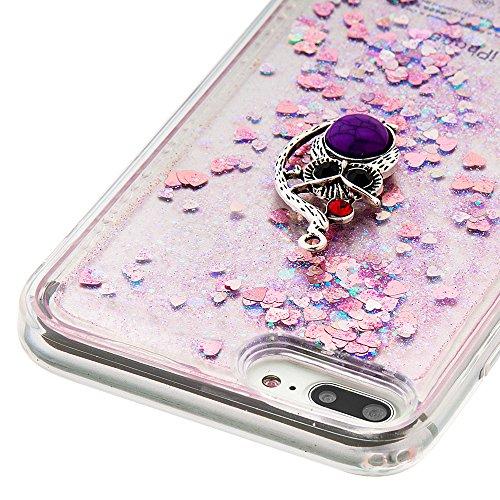 Case iPhone 7 Plus 3D Bling Diamant Design Coque, Sunroyal Glitter Bling Bling Dual Layer en Soft TPU Silicone Housse Transparent Clair Back Cover Strass Cristal Protecteur Étui Paillettes Flottant Li A-16