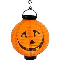 Qedertek Halloween Deko, Kürbis Lampion mit batterie, 20cm Orange Papierlaterne mit Kürbismuster, Halloween Papier…