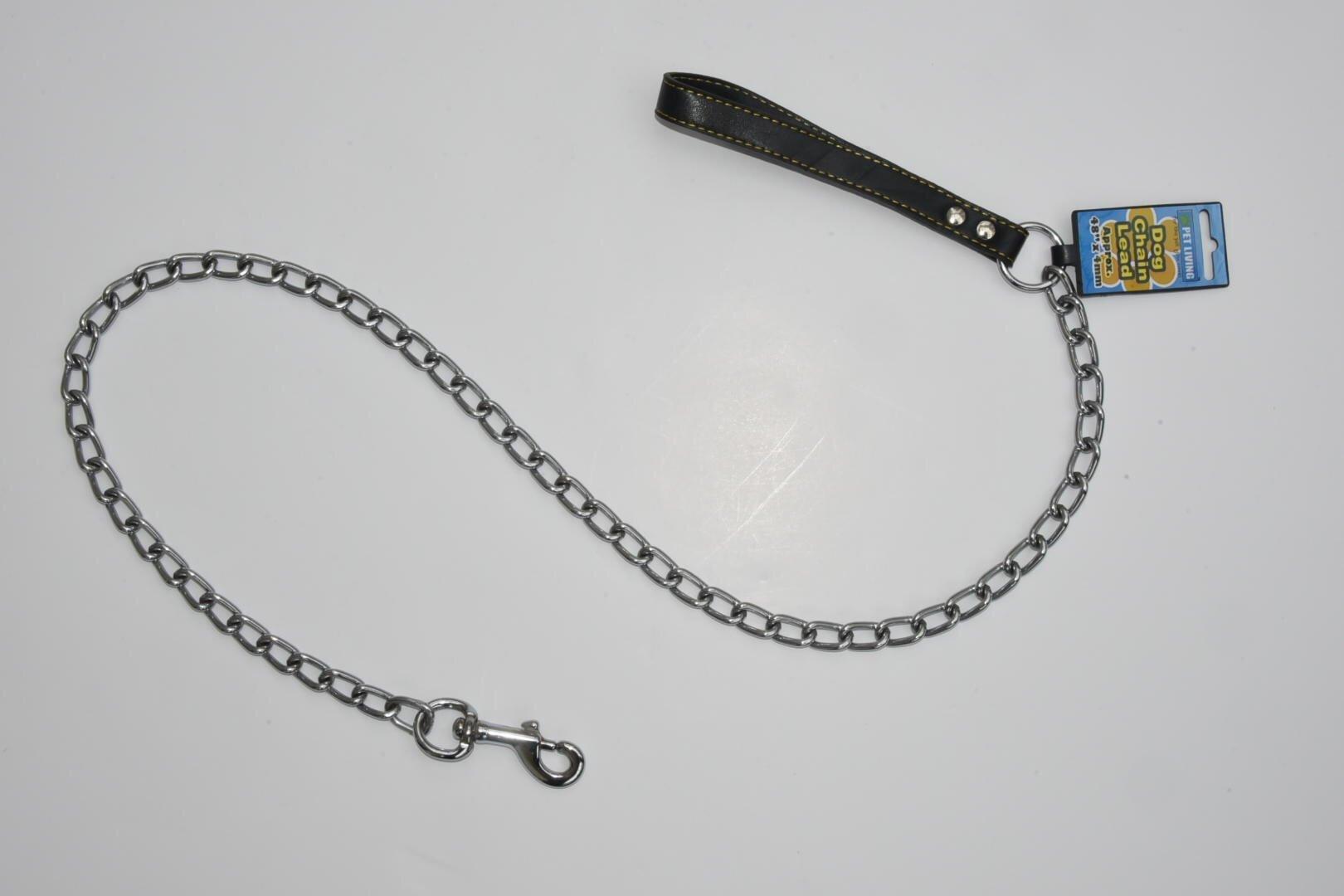 122cm (4ft) long Dog Chain Lead Heavy Duty 3mm Steel BLACK