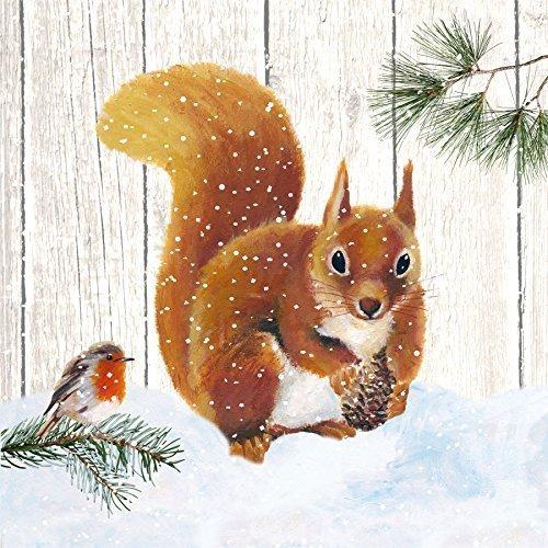 Lot de 20 serviettes en papier marron 3 couches Écureuil de Noël et rouge-gorge 33 x 33 cm