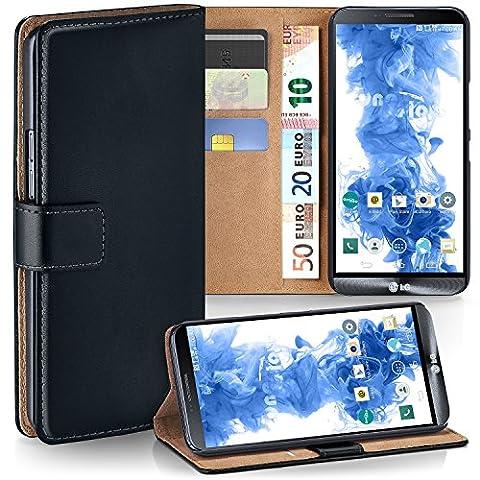LG G3 Hülle Schwarz mit Kartenfach [OneFlow Wallet Cover] Handytasche Flip-Case Handyhülle Etui Kunst-Leder Tasche für LG G3 Case Book Schutzhülle