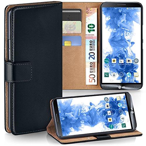 MoEx LG G3 | Hülle Schwarz mit Karten-Fach [OneFlow 360° Book Klapp-Hülle] Handytasche Kunst-Leder Handyhülle für LG G3 Case Flip Cover Schutzhülle Tasche