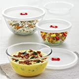 Borosil Glass Solid Serving & Mixing Bowls with Lids, Oven & Microwave Safe Bowls, Set of 3 (500 ml + 900 ml + 1.3 L), Borosi