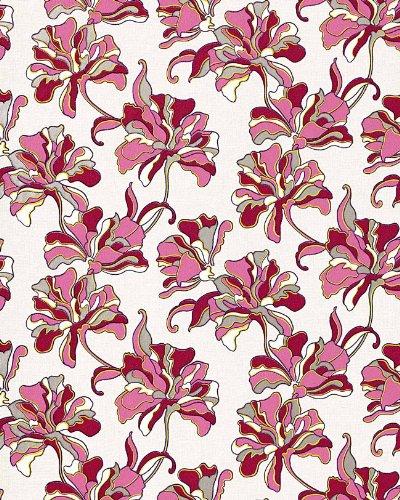 Papel pintado vinílico de diseño floral EDEM 072-24 crema fucsia rojo tinto blanco amarillo plata