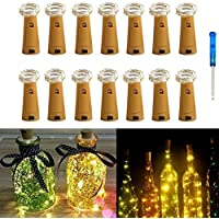 14 Pack Bottle Lights,IBanana Cork Shaped 20 Micro LEDs 2M String Lights with Screwdriver Wine Bottle Glass Decor DIY Lights for Party Birthday Christmas Wedding Home Table Décor (Warm White)