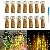 14er Pack Flaschenbeleuchtung, IBanana Kork 20 Micro LEDs 2M String Lights mit Schraubendreher Weinflasche Glasdekor DIY Lights for Party Geburtstag Weihnachten Hochzeit Tischdekor (Warm Weiß)