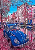 DIY 5D Diamond Painting, Crystal Rhinestone Diamond Embroidery Paintings Pictures Arts Craft for Home Wall Decor Blue Car Pink Building 11.8 X 15.7 Inch