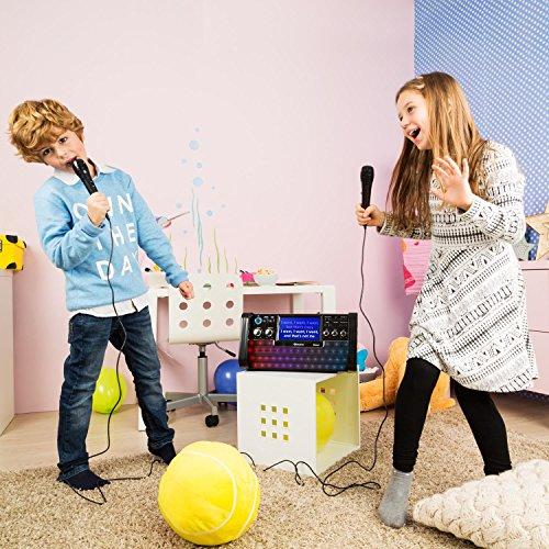 auna DiscoFever • Karaoke Anlage • Karaokeplayer • Karaoke Set • Bluetooth • 7 Zoll TFT-Display • 1 x dynamisches Mikrofon • LED-Effekte • CD+G-Player • USB-Port • Echo-Effekt • A.V.C. Funktion • Video-Ausgang • AUX-Eingang • Aufnahmefunktion • schwarz - 3