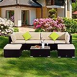 Outsunny – Set Mobili da Giardino in PE Rattan 7 Pezzi Divano e Tavolino con Cuscini