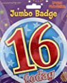 Age 16 Boy Birthday Badge 16th Birthday Badge Jumbo Badge Large Big Badge Fun house from Hippo