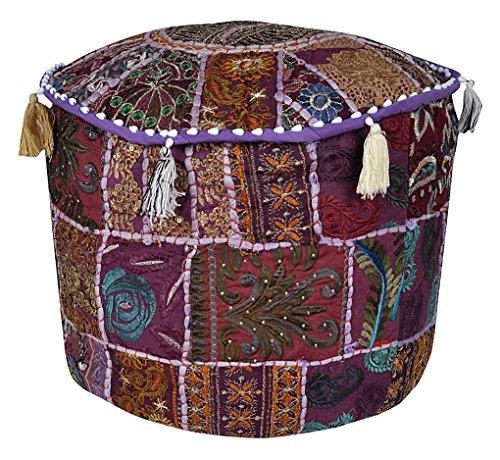 dien Boden Baumwolle osmanischen mit Patchwork und Stickerei Arbeit Hocker Cover indischen Handwerk nur Bezug ohne Einsatz (Halloween-gäste-handtücher)