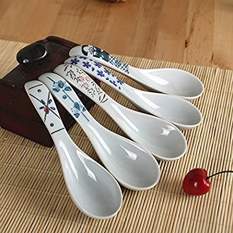 XYTMY Porcelain Soup Spoon Hand Painted Flower Handle Chinese/Asian Rice Spoon Appetizer Tableware-set of 5.