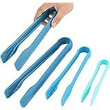 Pinzas de silicona multifuncionales de 3 piezas, pinzas de plástico para alimentos, herramientas para hornear de cocina(Azul)